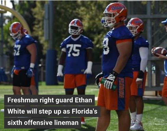 Ethan White to Step Up as Florida's Sixth Offensive Lineman