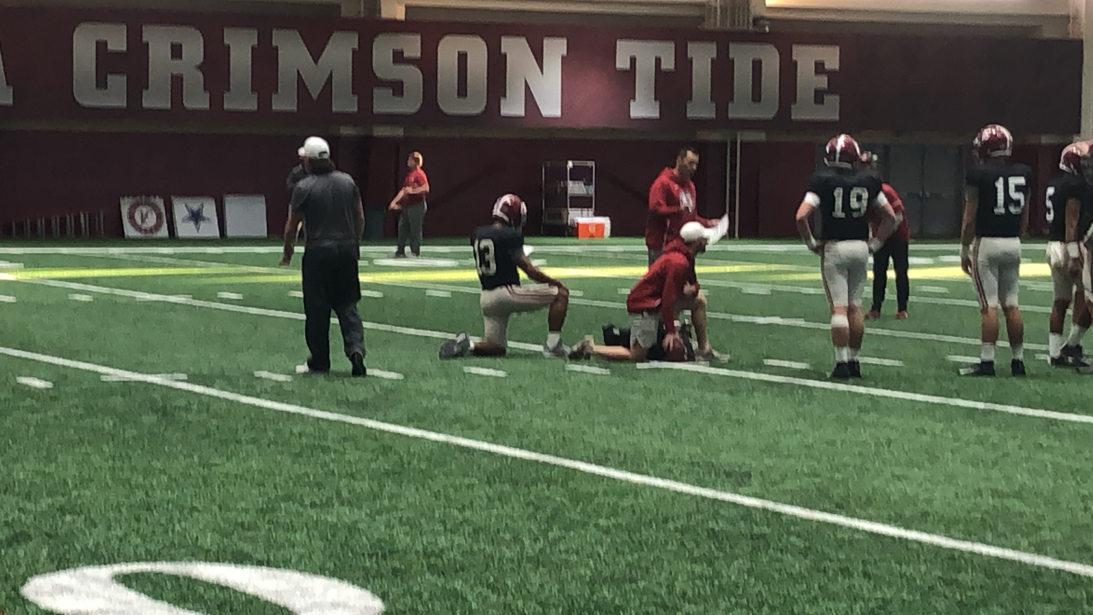 Tua Tagovailoa at Alabama's Practice, but Held Out of Drills