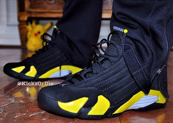 Air Jordan 14 'Thunder' On Feet Images