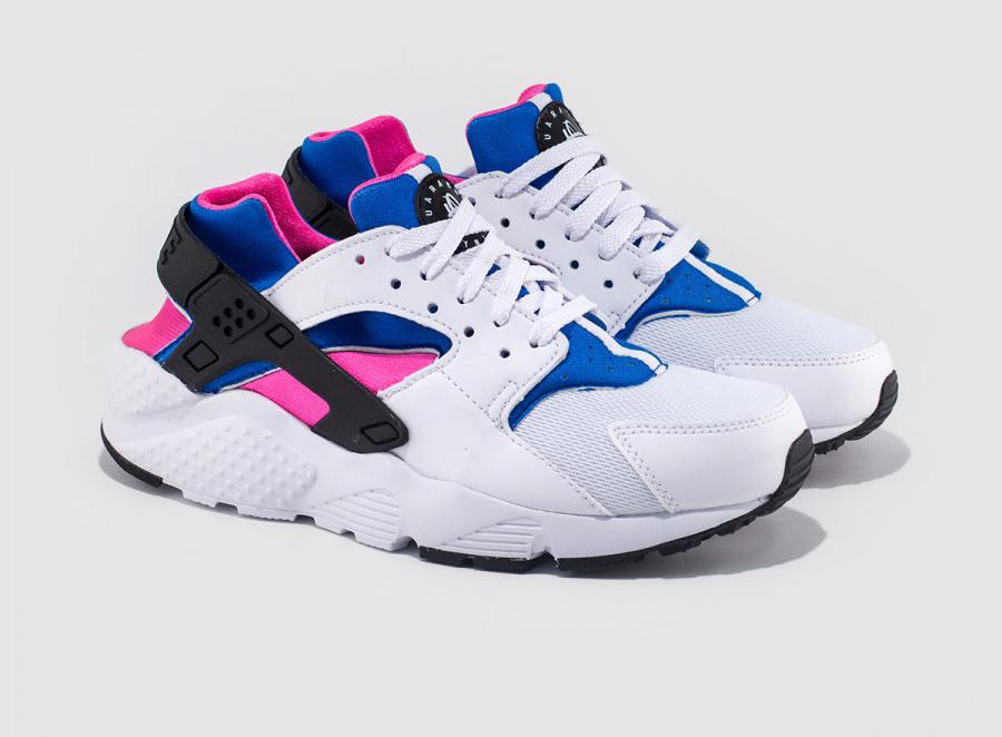 huaraches white blue pink
