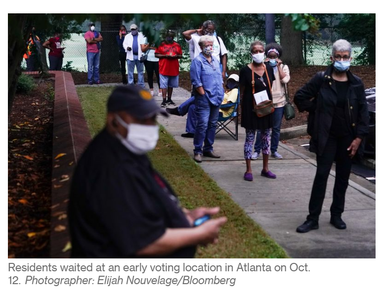 residents wait at early voting