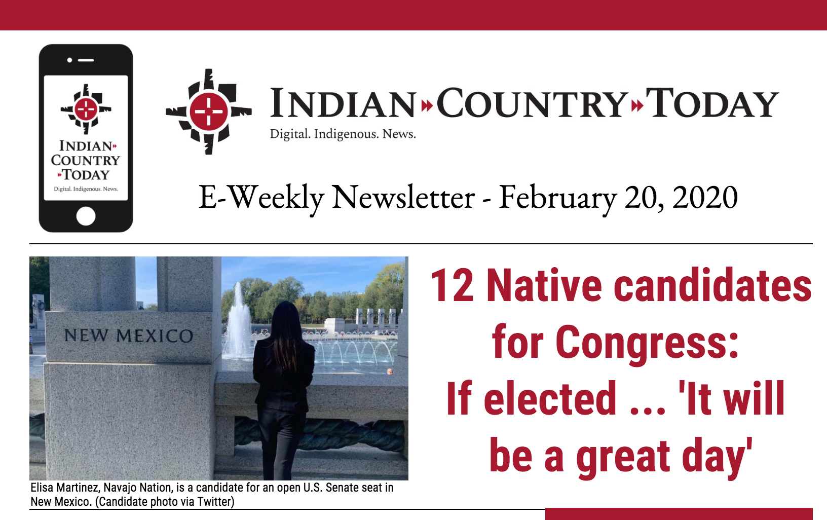 Indian Country Today E-Weekly Newsletter for February 20, 2020