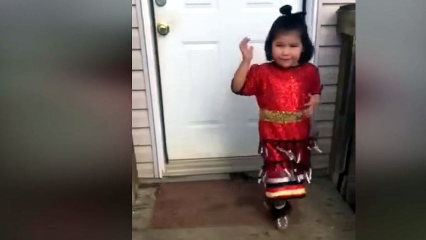 Tiny jingle dancer offers healing to the world