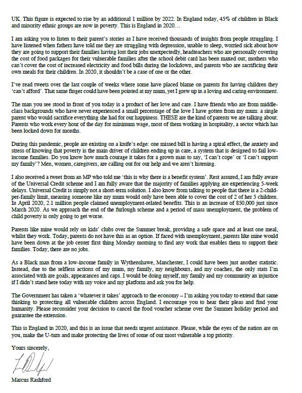 Rashford Sends Inspirational Open Letter To Government