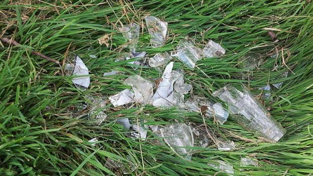 remove-broken-glass-from-lawn-using-bread-or-play-dough