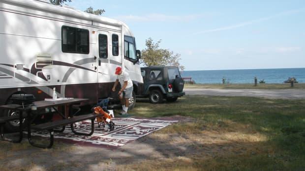 Campsite at city park in Grand Marais, Michigan