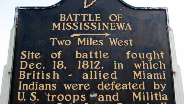 Indiana State historical marker for Mississenewa Battlefield.