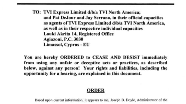 Actual Cease and Desist Order from State of Georgia against TVI Express