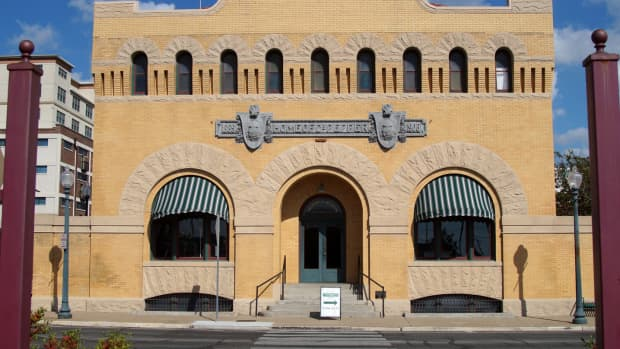 The front of the Dr. Pepper museum in downtown Waco, Texas.