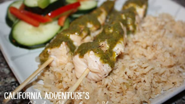 california-adventures-chicken-chimichurri-skewer-with-rice-pilaf-and-cucumber-salad