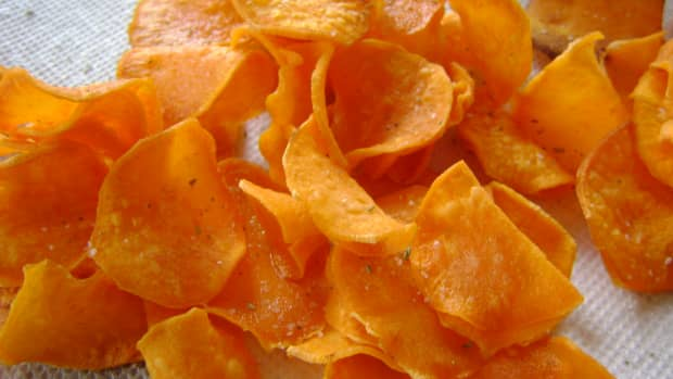 Crispy sweet potato chips fresh out of the dutch oven or fryer