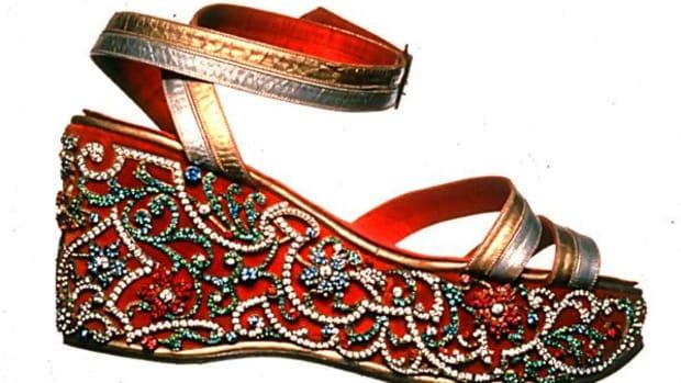 1938 Maharani wedge sandal made for Indira Devi, Maharani of Cooch Behar.