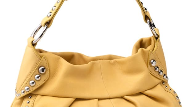 B Makowsky Studded Soft Pleated Hobo Handbag
