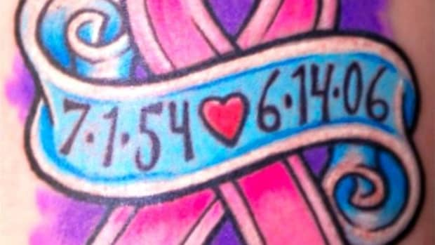 Pink ribbon tattoos symbolize breast cancer awareness
