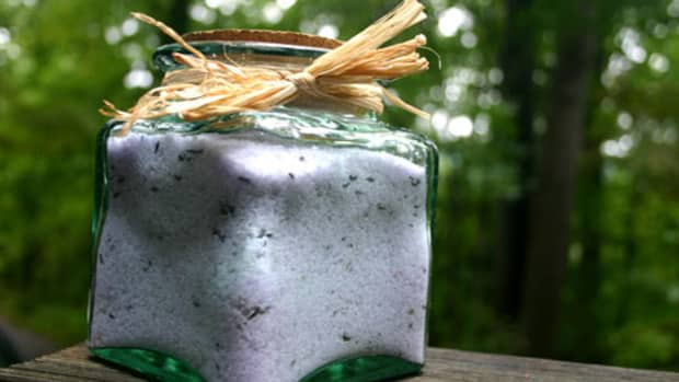 homemade bath salts, lavender relaxation mix, in a jar ready to be gifted to a friend