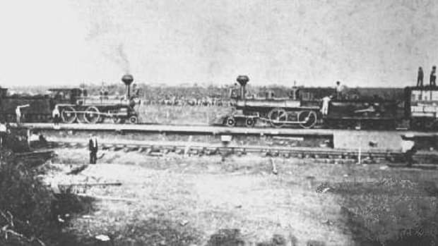 The Two Locomotives Greet One Another