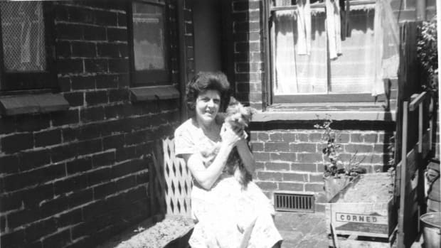Jeanie with our Yorkshire terrier Tinker at the site of the first bite