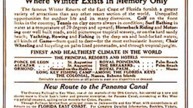 """A 1913 print advertisement extols the many advantages of traveling on the Florida East Coast Railway, the """"New Route to the Panama Canal."""""""