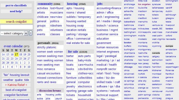 Example of a Craigslist homepage.