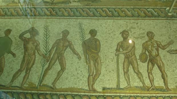 Mosaic flooring depicting the winners of various events wearing wreaths. Photo courtesy of wikimedia.org.