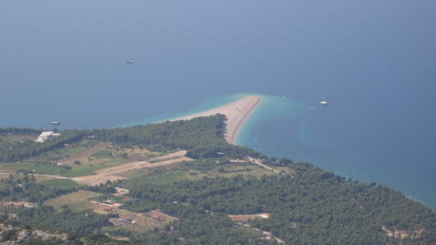 A view of Zlatni Rat from Vidova Gora, the highest point in the Adriatic at 778 metres
