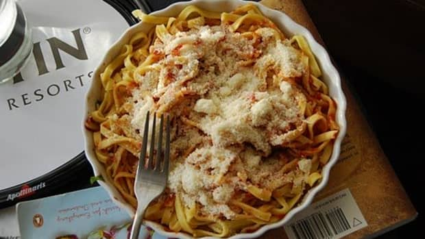 Fresh pasta with tomato sauce and parmesan cheese? All within the privacy of my beautiful hotel room?  Don't mind if I do!