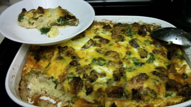 Hot Strata, fresh out of the oven, first serving.  Personal photo.