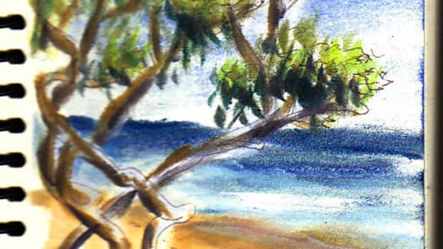 """Jamaica Beach Scene sketch by Robert A. Sloan, 5"""" x 7"""" in ball point pen and Pan Pastels on Pentalic Nature Sketch paper. Photo reference by VladK on WetCanvas.com."""