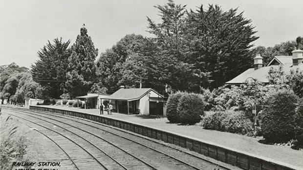 Mount Evelyn railway station, Melbourne, Australia; 1920.