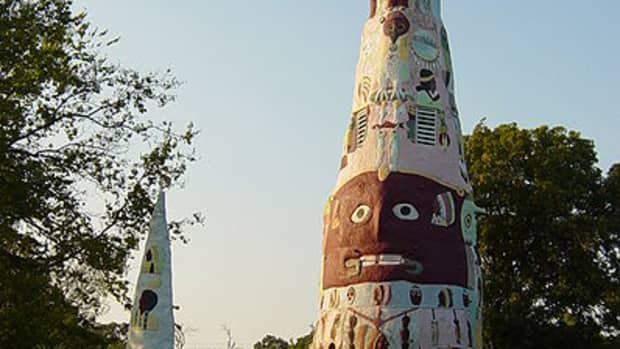 Ed Galloway's Totem Pole Park is located near U.S. Route 66 in Foyil, Oklahoma.
