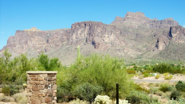 Superstition Mountain as seen from Apache Junction, Arizona