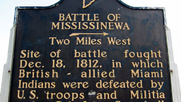 Indiana State historical marker for Mississenewa Battlefield.