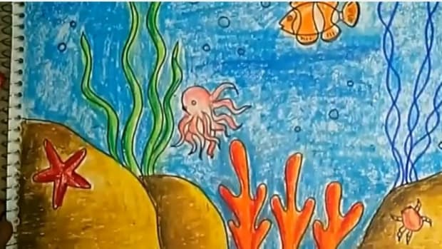 childrens-art-how-to-draw-and-color-an-underwater-scene-using-oil-pastels