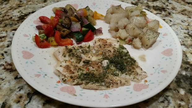 broiled-flounder-pot-luck-baked-potatoes-grilled-vegetables