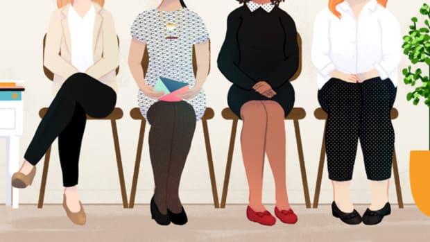 衣服 - 制造 - 男子和女人穿衣 - 一份工作面试