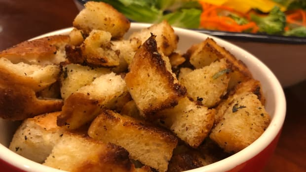 homemade-croutons-made-from-left-over-french-bread