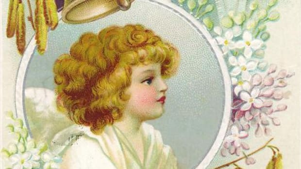Vintage Easter angel card with purple flowers and church bell