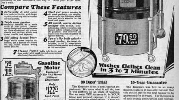 The first use of the Kenmore name was in this 1927 advertisement for an appliance which was an agitator type, wringer washing machine. By 1936, Sears had already sold 1 million Kenmore laundry items. Its popularity hasnt slipped. Today, nearly one in