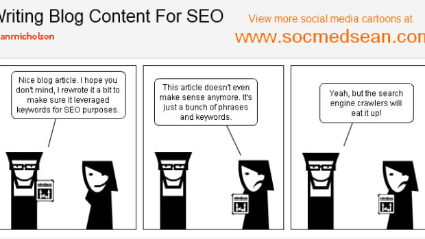 Writing blog content for SEO cartoon