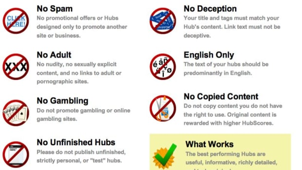 All of the above types of content can result in a Hub being flagged and reviewed (or unpublished) by the HubPages admin team.