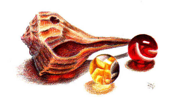"""Red and Yellow Come To Me"" by Robert A. Sloan, colored pencils on paper."