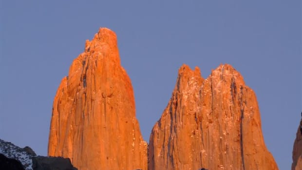 One of the major tourist attractions in Chile: Torres del Paine. Here a sight of the Torres at sunrise in winter.