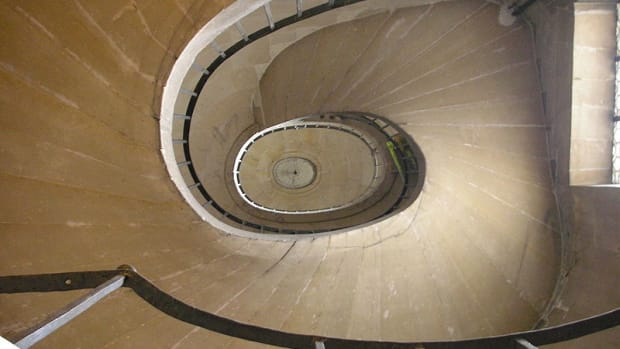 Poetry and Life Transitions can be symbolized in the spirals of a stairway leading up or down. [Photos on this page, public domain.]