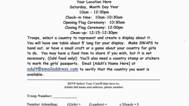 A basic informational flyer and registration sheet. This one doesn't have Service Project information on it.  You should include Service information, especially if each troop is supposed to bring something to the event.