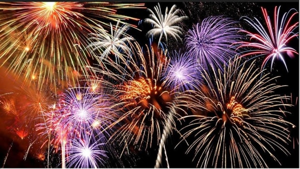 A photograph of fireworks taken from