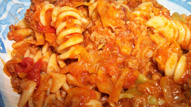 One of my favorite Weight Watchers recipes, Beef, Cabbage and Pasta.  Personal photo.