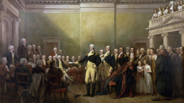 GENERAL GEORGE WASHINGTON RESIGNING HIS COMMISSION