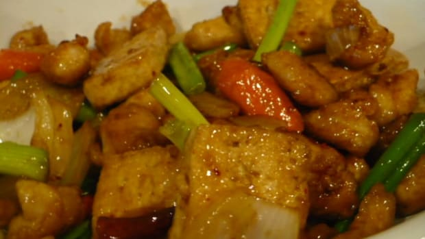 I made this dish with diced chicken and firm tofu.