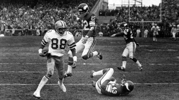 "Drew Pearson catching the ""Hail Mary""."