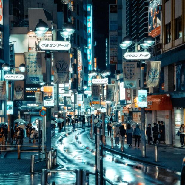 A rainy night in Shibuya, Japan